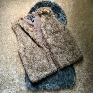 Gray/brown faux fur oversized vest